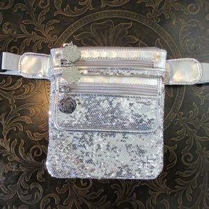 NWOT Joan Boyce Sequin Fanny Pack Bag Silver